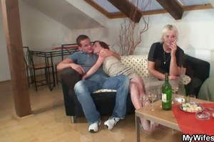 excited granny lures her son-in-law