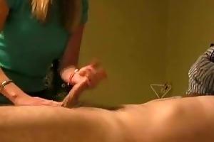 wife gives sexy cfnm handjob
