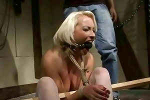aged blond receives bondaged and punished