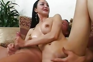 aged oriental playgirl with precious breast gives