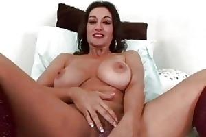provocative brunette hair momma sticks sex toy up