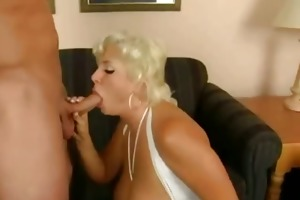 breasty golden-haired acquire to drink cum