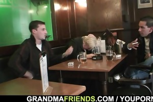 two males gangbang completely drunk granny