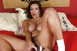 seductive tanned mother i plays with sex tools on