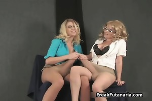 breasty golden-haired chicks go mad jerking part1