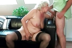 breasty granny acquires her shaggy pussy drilled