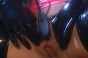 lesbians in rubber fingering soaked snatches