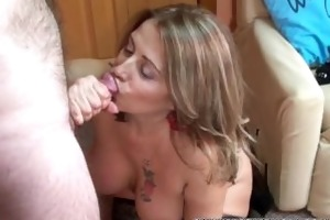 aged swinger sandie marquez is swallowing a