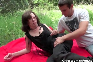 granny acquires her rectal hole invaded outdoors