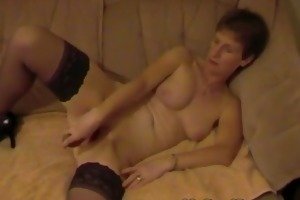 non-professional older uk wife playing with red