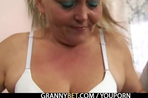golden-haired granny acquires her hairy pussy