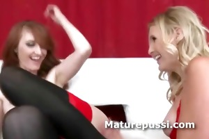 two naughty sexy lesbian milfs play undressed and