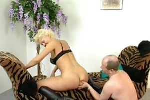 blond cougar opens her legs for unfathomable