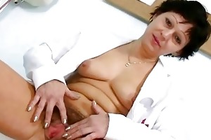 hot mother i in nurse uniform stretching curly