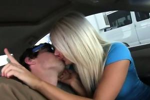 lewd hotties engulfing schlong in car