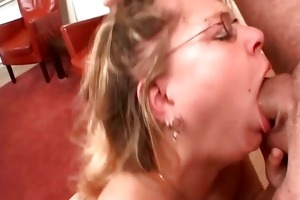 golden-haired floozy receives throat fur pie and