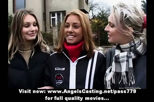 three fine hot lesbo babes with natural scones