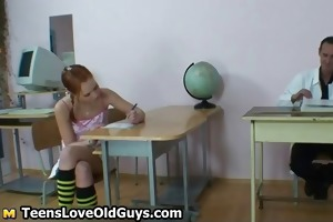 sexually excited old teacher spanks his cute part5