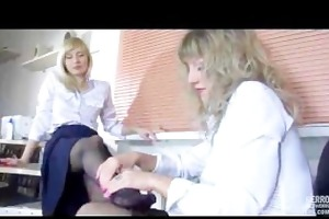 lesbo nylon foot sex in the office