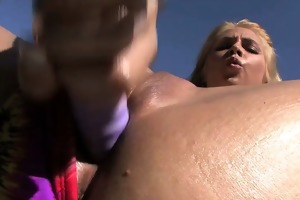 sara sloane slides fur pie onto wide shlong