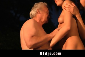 fortunate grand-dad fucking with hooties