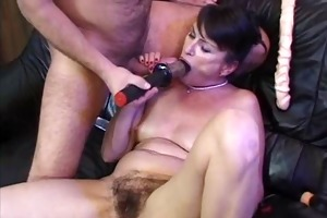 older and paramour play with trio dildos and fuck