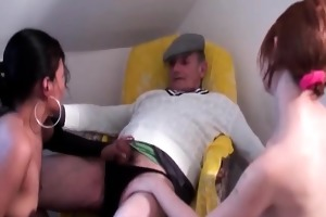 sexy harlots plays with three-some ramrods
