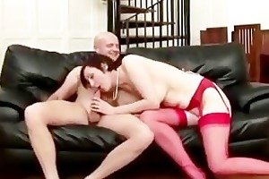 stylish older stocking fuck pair