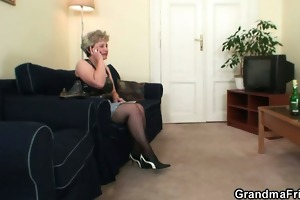 she is warms up her old cum-hole previous to jocks