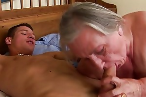 granny receives a throat full of cum