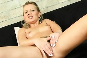 hot golden-haired mami stripteases in advance of
