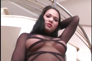 glamour chick fucking in thigh high nylon and