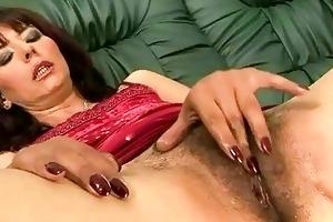 shaggy grandma masturbating and getting drilled