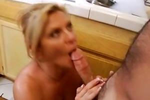 hardcore housewife rides rod in kitchen