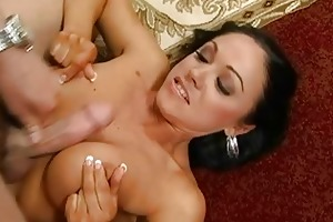 lewd breasty milf doing oral sex and titsjob