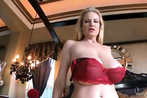 kelly madison wears red lace to fuck her spouse