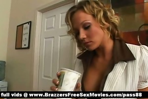 outstanding breasty golden-haired girl at work