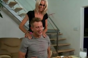 blond playgirl in glasses emma starr gives titjob