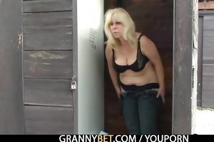 granny is team-fucked in the public area