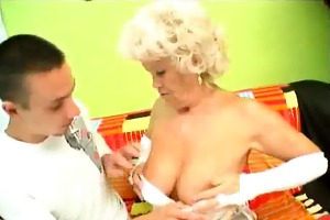 bulky blond grandma sucks dick