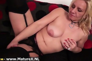horny blonde experienced is touching