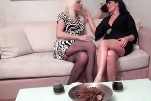 lesbian older pair tongue kissing