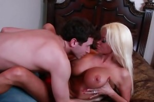 salacious blond nikita von james ride a large