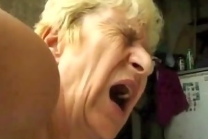 unsightly granny receives double penetration cum