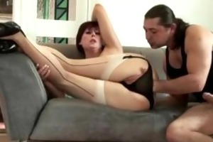 european older honey in nylons acquires her pussy
