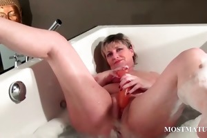 naughty older masturbates in bathtub