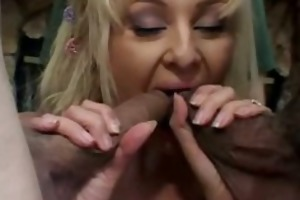 cute golden-haired wifey fucking on massive dongs