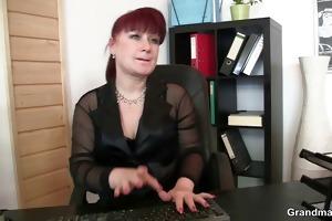 favourable men team fuck business woman