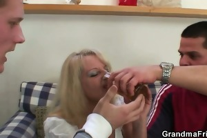 blond granny in hawt trio fuckfest