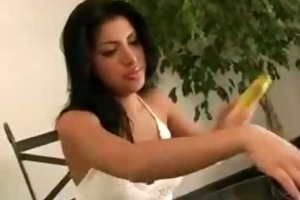 sativa rose stuffs a banana in her
